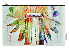 Colorful Lakota Sioux Headdress Carry-all Pouch by Olga Hamilton