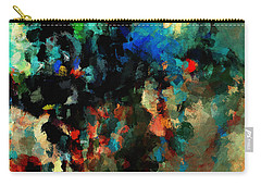 Carry-all Pouch featuring the painting Colorful Landscape / Cityscape Abstract Painting by Ayse Deniz