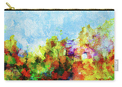 Carry-all Pouch featuring the painting Colorful Landscape Painting In Abstract Style by Ayse Deniz