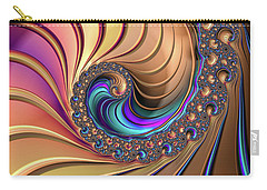 Carry-all Pouch featuring the digital art Colorful Luxe Fractal Spiral by Matthias Hauser