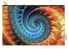 Colorful Luxe Fractal Spiral Turquoise Brown Orange Carry-all Pouch by Matthias Hauser