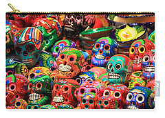 Colorful Mexican Day Of The Dean Ceramic Skulls Carry-all Pouch
