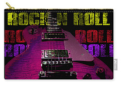 Carry-all Pouch featuring the photograph Colorful Music Rock N Roll Guitar Retro Distressed T-shirt by Guitar Wacky