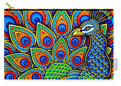 Colorful Paisley Peacock Carry-all Pouch