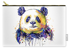 Carry-all Pouch featuring the mixed media Colorful Panda Head by Marian Voicu