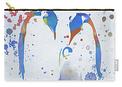 Carry-all Pouch featuring the painting Colorful Penguin Family by Dan Sproul