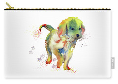 Colorful Puppy Watercolor - Little Friend Carry-all Pouch by Melly Terpening