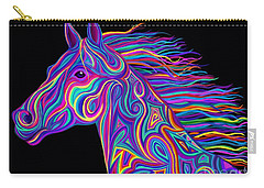 Carry-all Pouch featuring the drawing Colorful Rainbow Stallion  by Nick Gustafson
