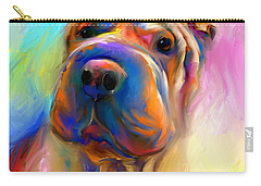 Colorful Shar Pei Dog Portrait Painting  Carry-all Pouch by Svetlana Novikova