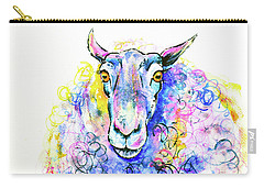 Carry-all Pouch featuring the painting Colorful Sheep by Zaira Dzhaubaeva