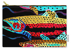 Colorful Swimming Trout Carry-all Pouch by Scott D Van Osdol