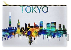Colorful Tokyo Skyline Silhouette Carry-all Pouch by Dan Sproul