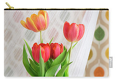 Colorful Tulips And Bulbs In Glass Vase Carry-all Pouch