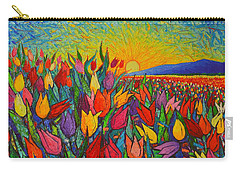 Colorful Tulips Field Sunrise - Abstract Impressionist Palette Knife Painting By Ana Maria Edulescu Carry-all Pouch