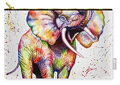 Carry-all Pouch featuring the painting Colorful Watercolor Elephant by Georgeta Blanaru