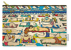 Colorful Whimsical Beach Seashore Women Men Carry-all Pouch by Rebecca Korpita