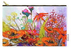 Colorful Wildflowers Bunch, Oil Painting, Palette Knife Carry-all Pouch