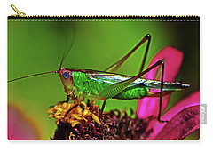 Carry-all Pouch featuring the photograph Colors Of Nature - Grasshopper On A Zinnia 001 by George Bostian