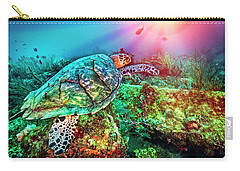 Carry-all Pouch featuring the photograph Colors Of The Sea In Lights by Debra and Dave Vanderlaan