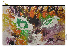 Colourful Cat Face Carry-all Pouch by AJ Brown
