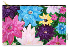 Carry-all Pouch featuring the painting Colourful Flowers by Sonya Nancy Capling-Bacle