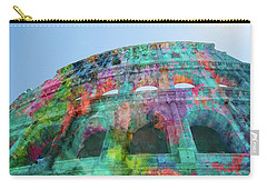 Carry-all Pouch featuring the mixed media Colourful Grungy Colosseum In Rome by Clare Bambers