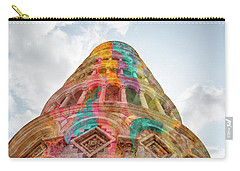 Carry-all Pouch featuring the mixed media Colourful Leaning Tower Of Pisa by Clare Bambers