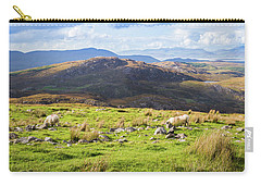 Carry-all Pouch featuring the photograph Colourful Undulating Irish Landscape In Kerry With Grazing Sheep by Semmick Photo