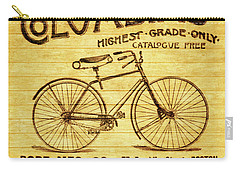 Carry-all Pouch featuring the mixed media Columbia Bicycle Vintage Poster On Wood by Dan Sproul