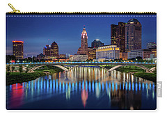 Carry-all Pouch featuring the photograph Columbus Ohio Skyline At Night by Adam Romanowicz