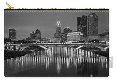 Carry-all Pouch featuring the photograph Columbus Ohio Skyline At Night Black And White by Adam Romanowicz