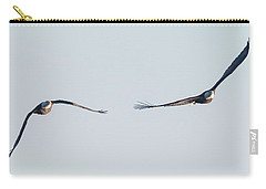 Carry-all Pouch featuring the photograph Coming Right At You - Two Bald Eagles by Ricky L Jones