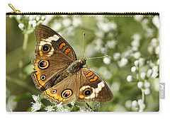 Common Buckeye Butterfly On White Thoroughwort Wildflowers Carry-all Pouch