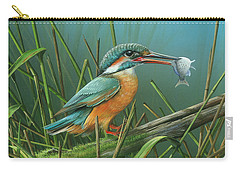 Carry-all Pouch featuring the painting Common Kingfisher by Mike Brown