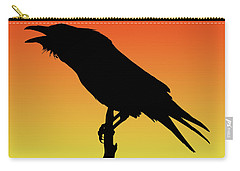 Common Raven Silhouette At Sunset Carry-all Pouch