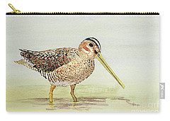 Carry-all Pouch featuring the painting Common Snipe Wading by Thom Glace