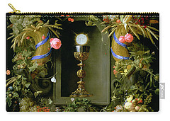 Communion Cup And Host Encircled With A Garland Of Fruit Carry-all Pouch