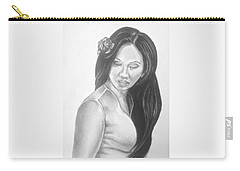 Female In Sorrow Charcoal Drawing  Carry-all Pouch