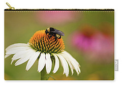 Carry-all Pouch featuring the photograph Coneflower And Bee by Phyllis Peterson