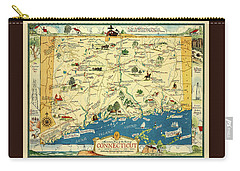 Connectiucut 1930s Map With Historical Information Carry-all Pouch