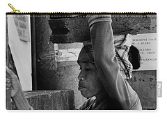 Carry-all Pouch featuring the photograph Construction Labourer - Bw by Werner Padarin