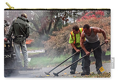 Young Male Construction Workers At Work Paving Road Carry-all Pouch