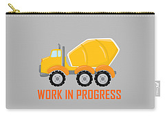 Construction Zone - Concrete Truck Work In Progress Gifts - Grey Background Carry-all Pouch
