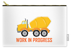 Construction Zone - Concrete Truck Work In Progress Gifts - White Background Carry-all Pouch