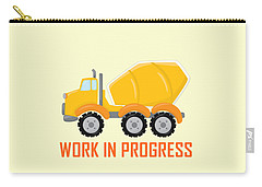 Construction Zone - Concrete Truck Work In Progress Gifts - Yellow Background Carry-all Pouch