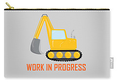 Construction Zone - Excavator Work In Progress Gifts - Grey Background Carry-all Pouch