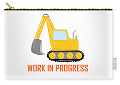 Construction Zone - Excavator Work In Progress Gifts - White Background Carry-all Pouch