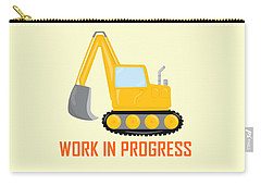 Construction Zone - Excavator Work In Progress Gifts - Yellow Background Carry-all Pouch