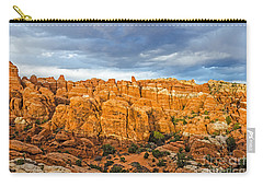 Carry-all Pouch featuring the photograph Contrasts In Arches National Park by Sue Smith