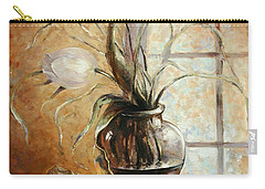 Contre Jour. White Tulip In A Vase.oil Painting On Canvas Carry-all Pouch